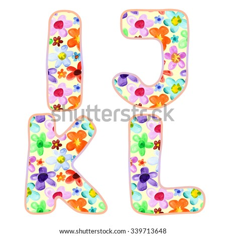 Alphabet with colorful watercolor flower pattern. Letters I, J, K, L - stock photo