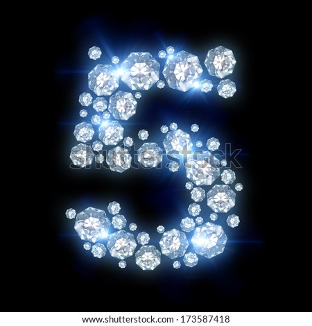 alphabet with diamonds on black background (number 5)  - stock photo
