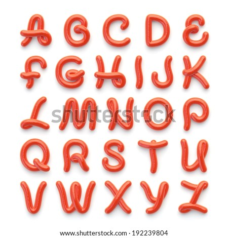 Alphabet with letters made of spicy tomato sauce - stock photo
