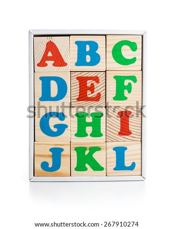 alphabet wood bricks in box isolated on white - stock photo