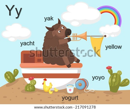 Alphabet Y letter,yak,yacht,yo gurt,yoyo,yellow. EPS vector version id 178544288.format also available in my portfolio - stock photo