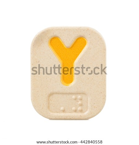 alphabet Y on white background with Braille. - stock photo