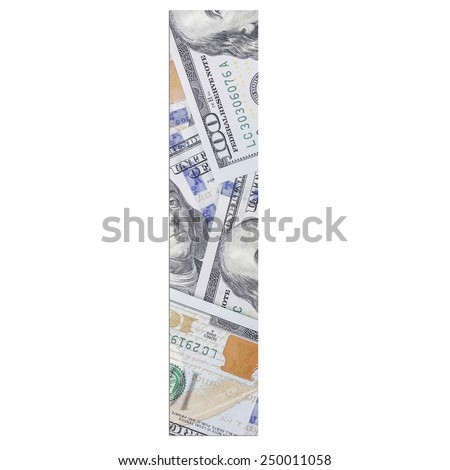 Alphabetic letter L. Dollars background over white.