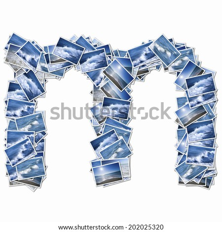 Alphabetic Lower-Case Letters In The Photos Of Oceans - stock photo