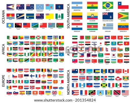 Alphabetical Country Flags by Continent - stock photo