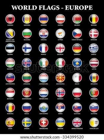 Alphabetical country flags for the continent of europe - stock photo