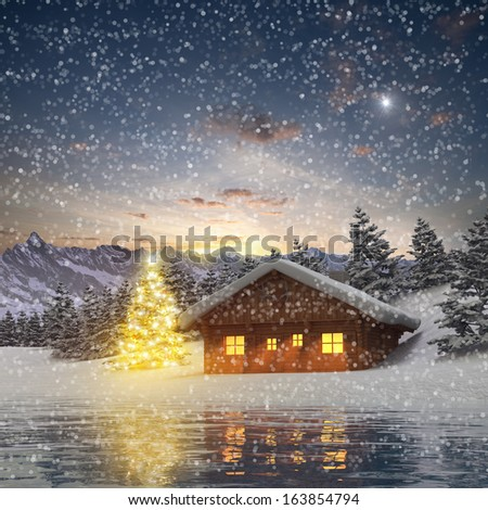 Alpine Cabin and illuminated Christmas Tree - stock photo