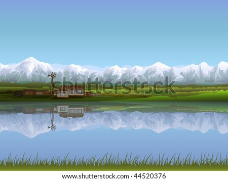 Alpine farm (other landscapes are in my gallery) - stock photo