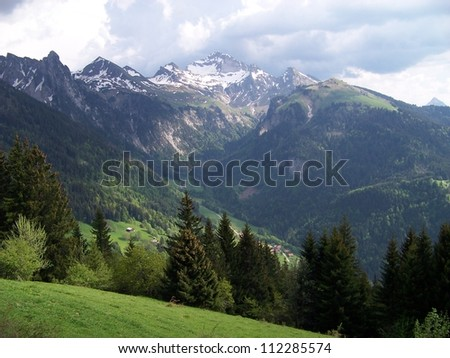 Alpine green valley and snowy mountain tops