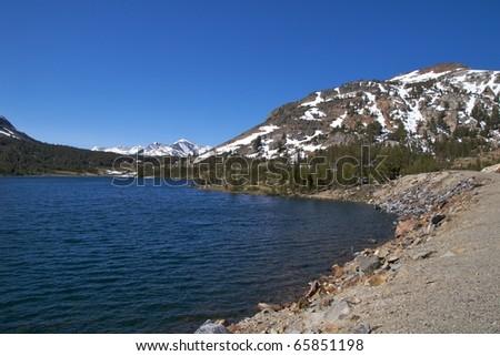 Alpine lake along the Tioga Pass Road, Yosemite National Park - stock photo