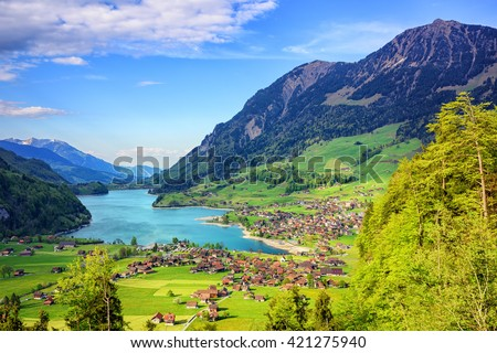 Alpine lake and mountain landscape in Canton Obwalden, central Switzerland - stock photo