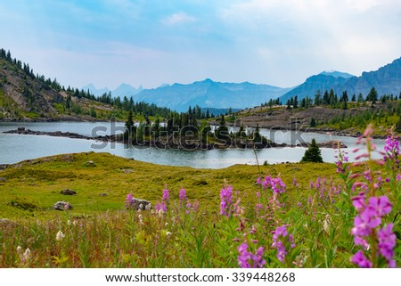 Alpine lake and mountains in sunshine meadows, banff national park, Alberta, Canada - stock photo