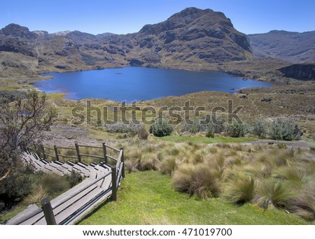 Alpine lake in Cajas National Park, Ecuador