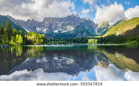 Alpine lake in the morning,Laghi di Fusine Lake,Italy