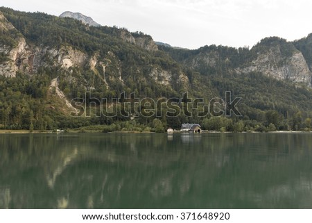 Alpine lake Mondsee autumn landscape with boathouse, Austria - stock photo