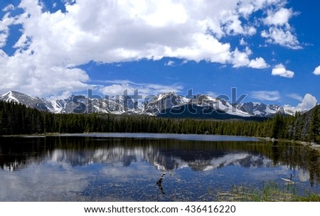 Alpine Lake, Snow Capped Mountains, Clouds and Reflections. Bierstadt Lake, Rocky Mountains National Park near Denver, Colorado State, USA.  - stock photo