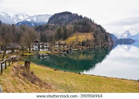 Alpine lake Wolfgangsee, St. Gilgen, Austria - stock photo