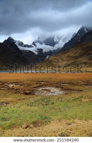 Alpine landsape in Cordiliera Huayhuash, Peru, South America - stock photo