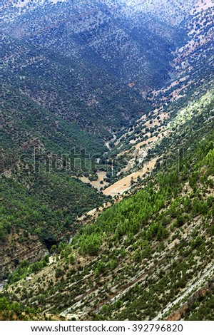 Alpine landscape in the Atlas Mountains, Morocco, Africa - stock photo