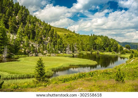 Alpine landscape, Lake Windebensee in Carinthia, Nockalmstrasse, Austria - stock photo