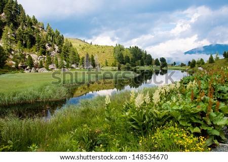 alpine landscape - Windebensee in K�¤rnten Nockalstra��e Austria - stock photo
