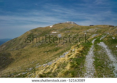 Alpine landscape with green grass in the foreground, valley view, mountain peaks. Location: Slovenia Alps.
