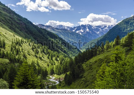 Alpine meadow landscape of high mountains on a clear summer, sunny day. Northern Italy