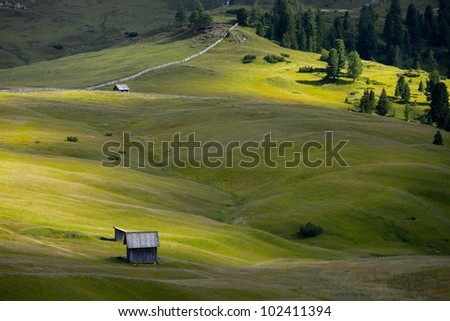 Alpine meadow, vast green pasture - stock photo