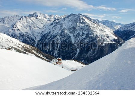 Alpine mountain in winter. Tirol. - stock photo