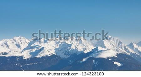 Alpine Mountain Peaks Panorama in South Tyrol, Italy. - stock photo