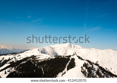 alpine panorama in austria - stock photo