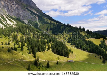 Alpine scenery at the foot of mountain Hochkonig in summer, pasture of Rieding Alm, Salzburg, Austria - stock photo