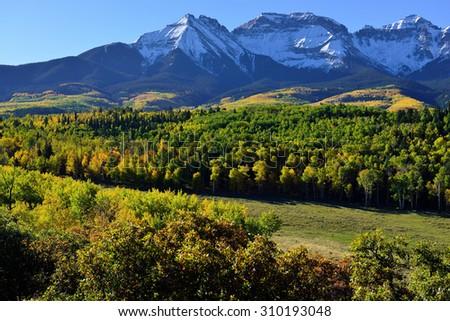 Alpine scenery of Colorado during foliage season - stock photo