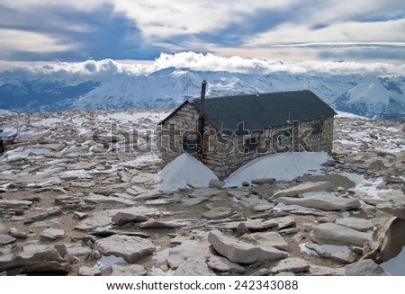 Alpine Shelter on the Summit of Mt. Whitney, California - stock photo