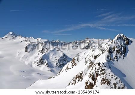 Alpine ski resort in Soelden in Oetztal Alps, Tirol, Austria   - stock photo