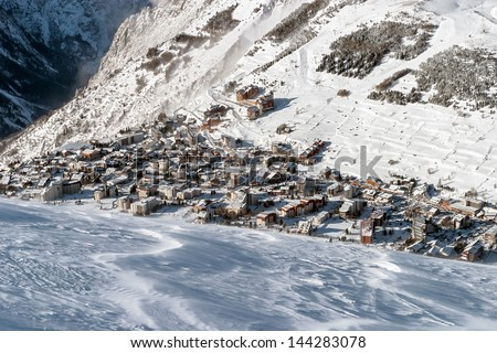 Alpine ski resort Les Deux Alps - France - stock photo
