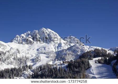 Alpine ski resort Nassfeld Hermagor at Austrian-Italian border. - stock photo