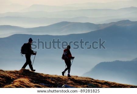 Alpine trekkers - stock photo