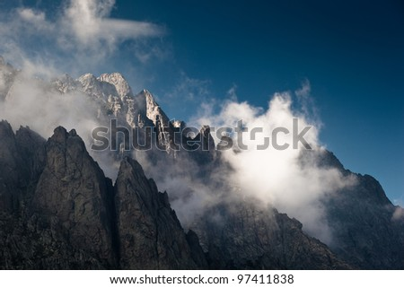 Alpine view of mountain tops in Restonica Valley, Corsica, France - stock photo