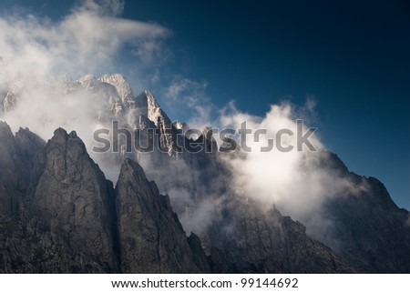 Alpine view of mountain tops in Restonica Valley, Corsica, France