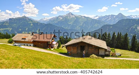 Alpine village among mountains in summer in the Ziller valley (Zillertal). Tyrol, Lower Austria - stock photo