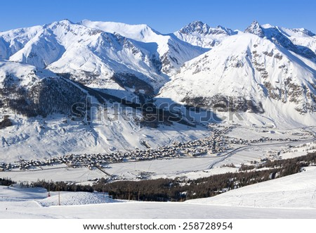 Alpine village. View from top of mountain, Livigno, Italy.