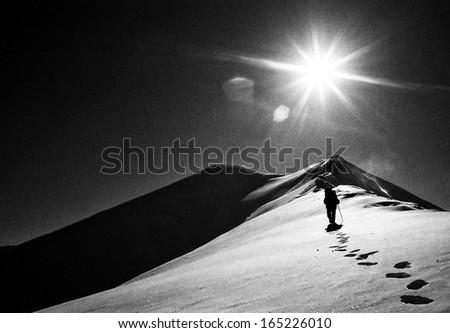 Alpinist in Retezat Mountains, Romania Europe - Grain film image - stock photo
