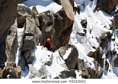 Alpinists climbing Cosmique Ridge, France - stock photo
