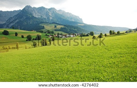 alps grass valley - stock photo