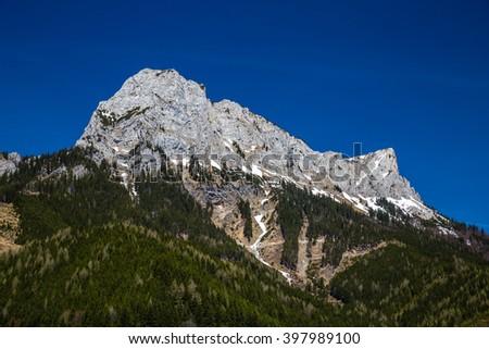 Alps Mountain Range Near Eisenerz During Summer Day - Eisenerz, Styria, Austria, Europe  - stock photo