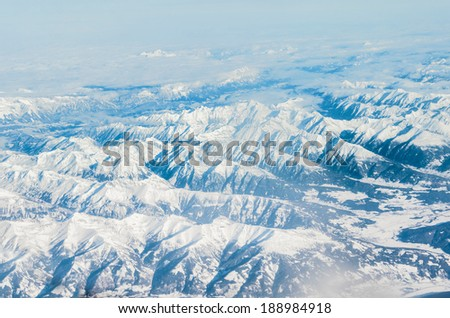Alps mountains, aerial view - stock photo