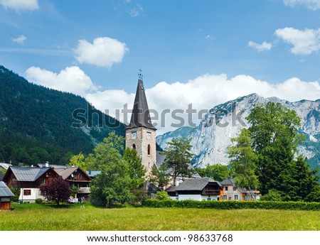 Alps mountains tranquil summer view and village  (Altausseer, Austria) - stock photo
