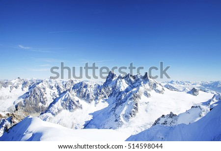Alps Mountains. View from Aiguille du Midi , France , Europe.