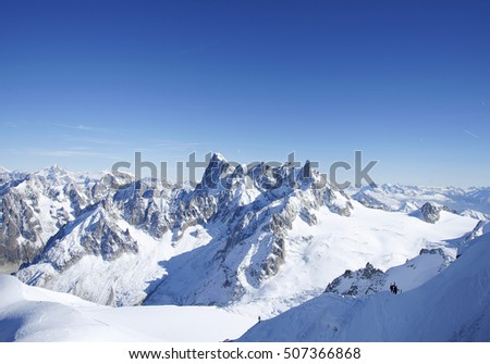 Alps mountains.View from Aiguille du Midi,France.October 2016.